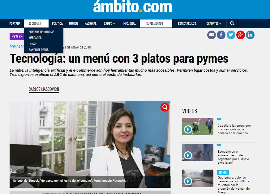 Simbel ecommerce en Ambito Financiero